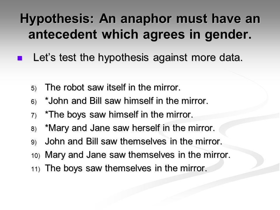 Hypothesis: An anaphor must have an antecedent which agrees in gender.