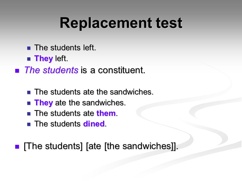 Replacement test The students is a constituent.