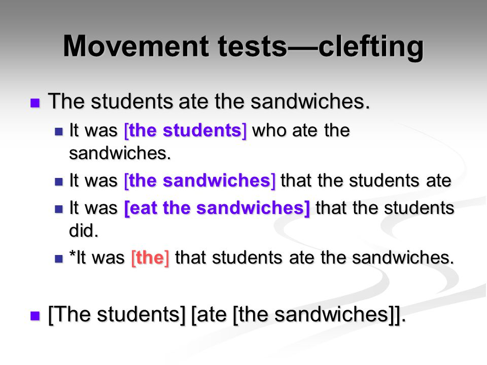 Movement tests—clefting