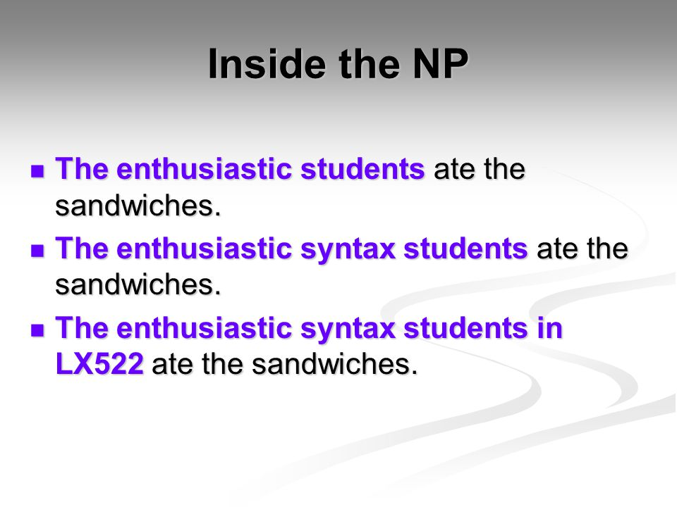 Inside the NP The enthusiastic students ate the sandwiches.