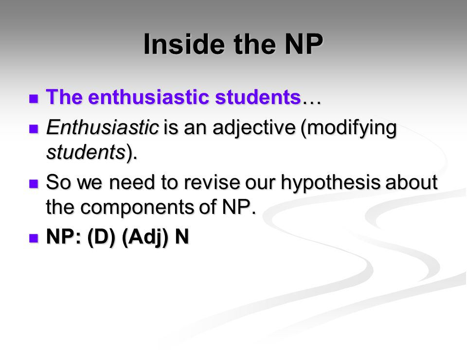 Inside the NP The enthusiastic students…