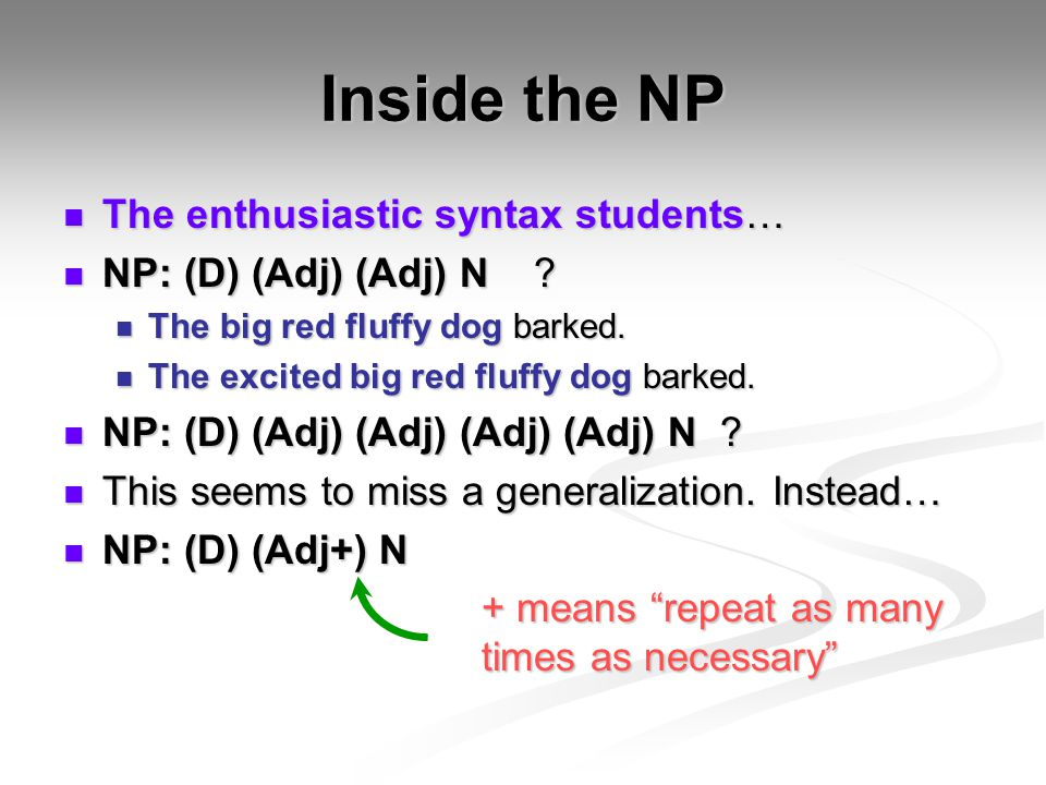 Inside the NP The enthusiastic syntax students…