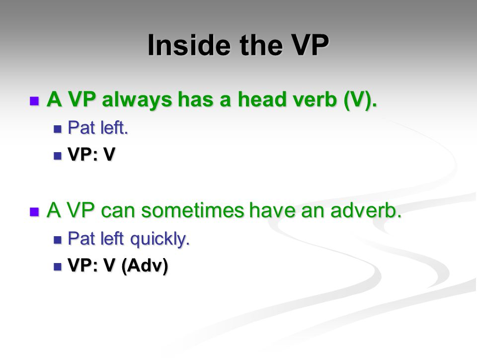 Inside the VP A VP always has a head verb (V).