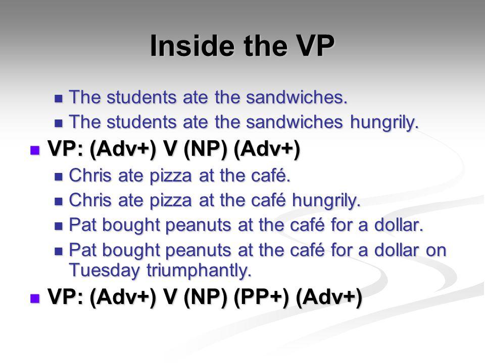 Inside the VP VP: (Adv+) V (NP) (Adv+) VP: (Adv+) V (NP) (PP+) (Adv+)