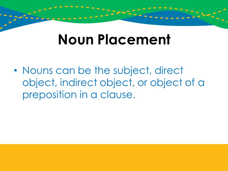 Noun Placement Nouns can be the subject, direct object, indirect object, or object of a preposition in a clause.