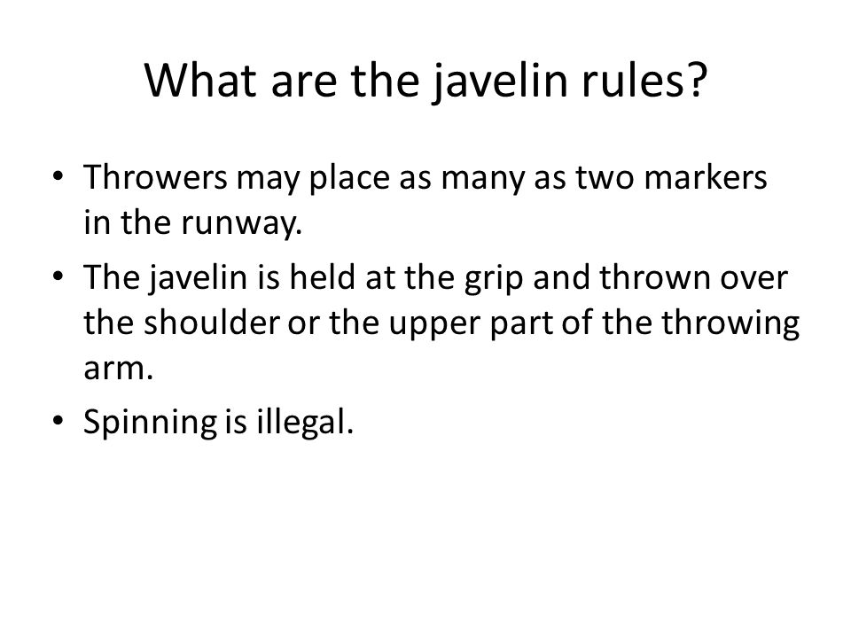 What are the javelin rules