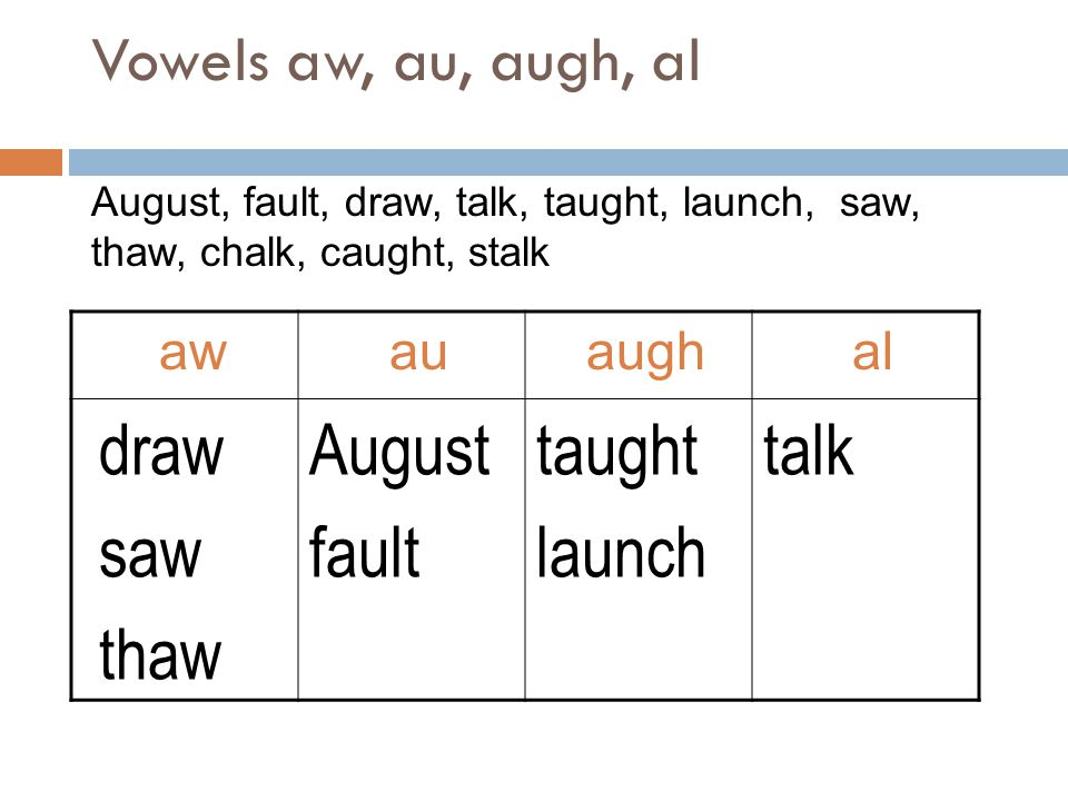 draw saw thaw August fault taught launch talk