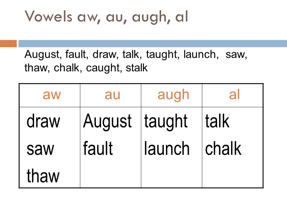 draw saw thaw August fault taught launch talk chalk