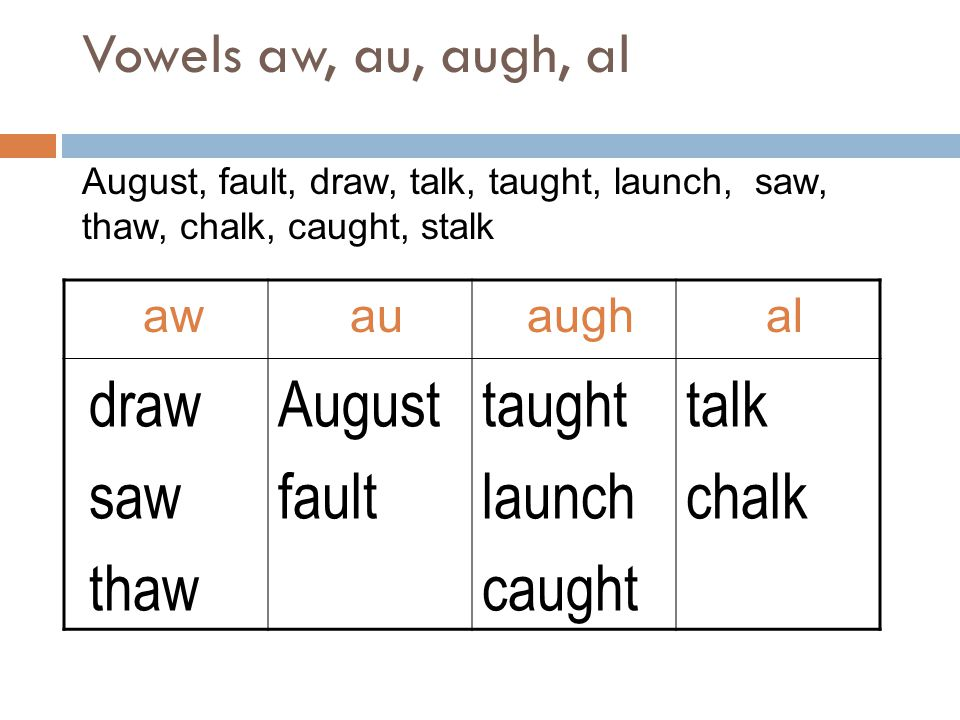draw saw thaw August fault taught launch caught talk chalk