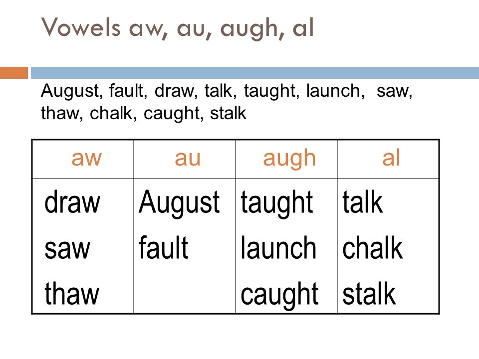 draw saw thaw August fault taught launch caught talk chalk stalk