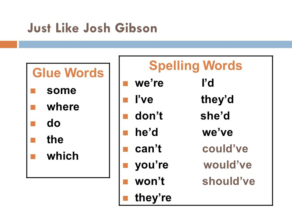 Just Like Josh Gibson Spelling Words Glue Words we're I'd some