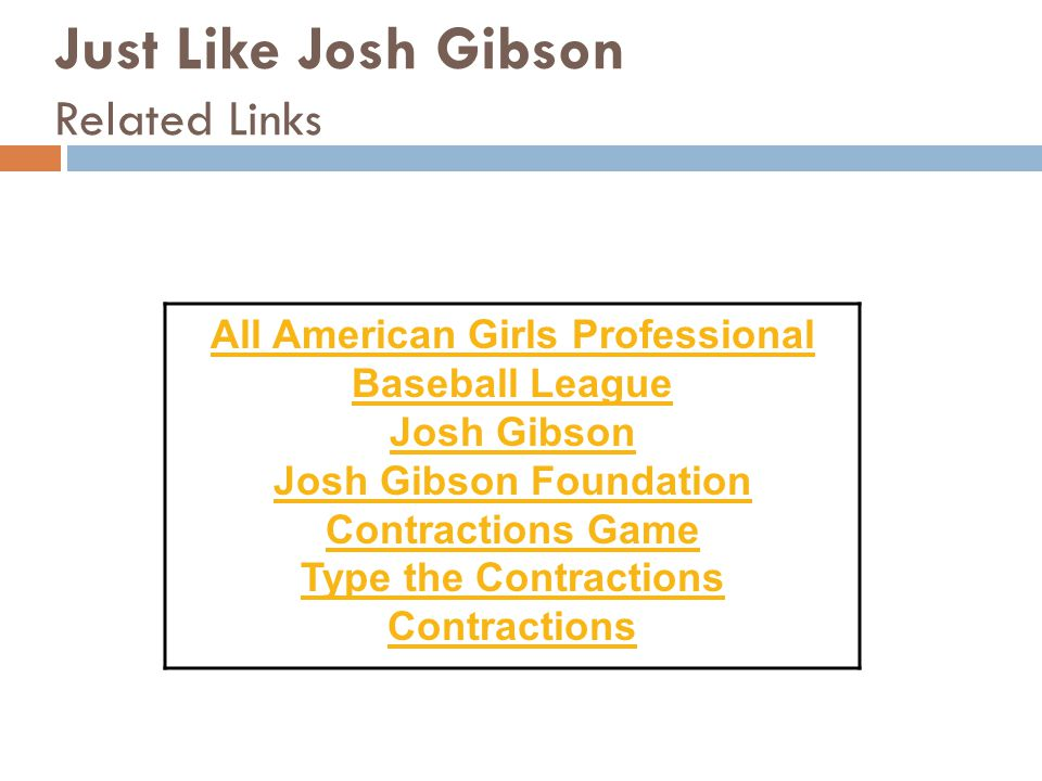 Just Like Josh Gibson Related Links