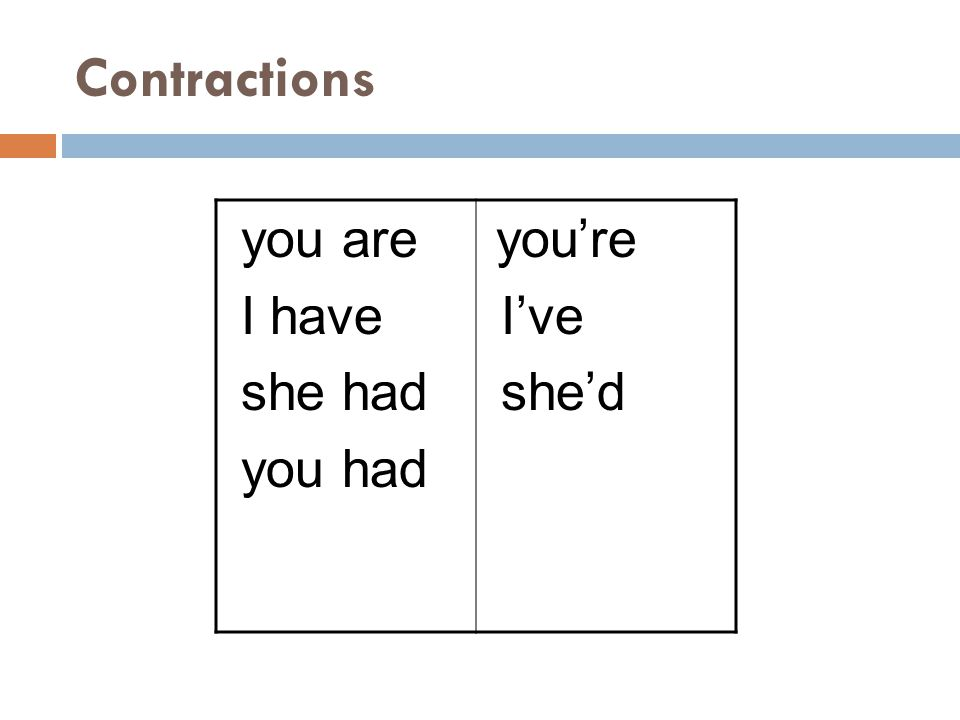 Contractions you are I have she had you had you're I've she'd