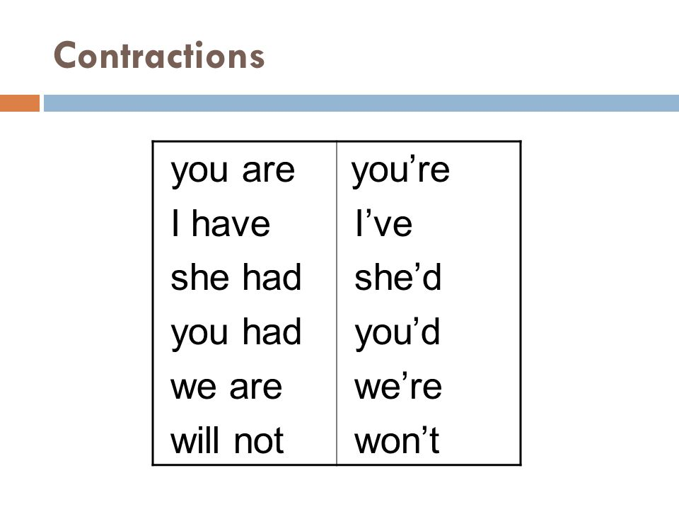 Contractions you are I have she had you had we are will not I've she'd