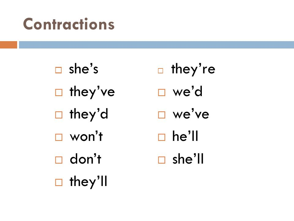 Contractions they've they'd won't don't they'll we'd we've he'll