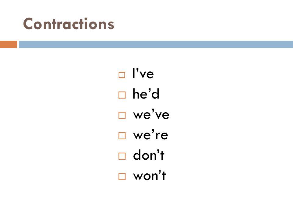 Contractions I've he'd we've we're don't won't