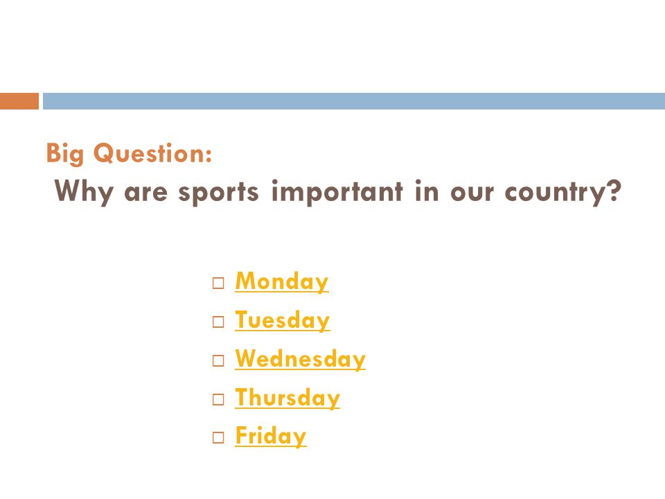 Big Question: Why are sports important in our country
