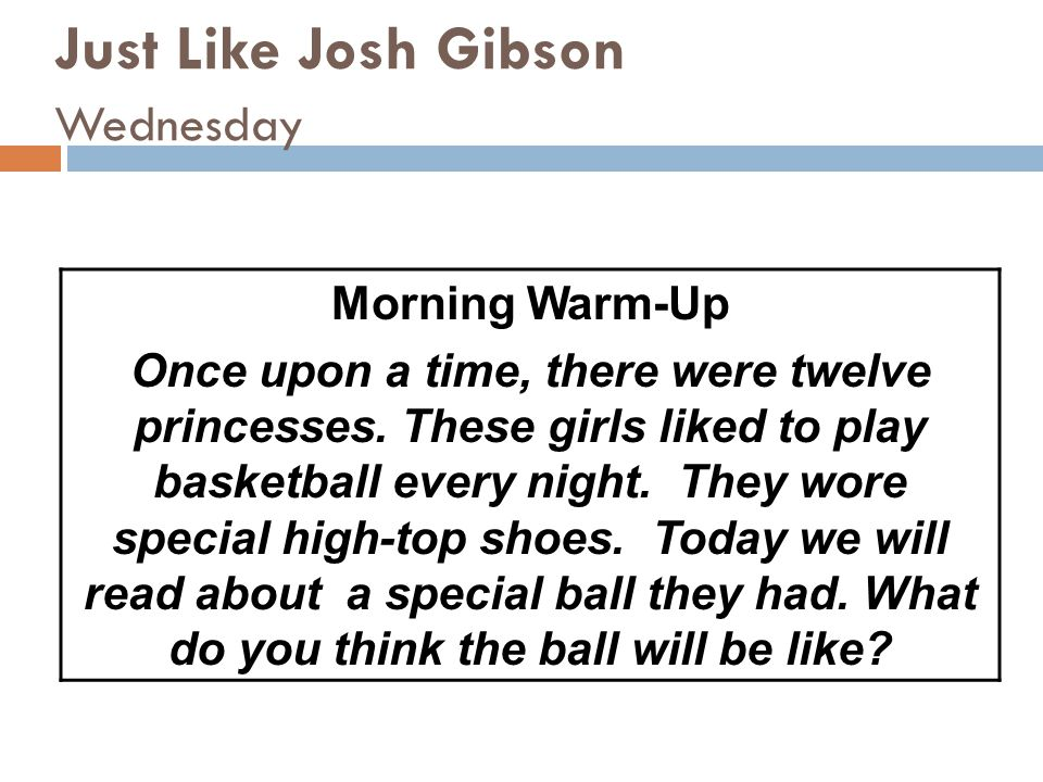 Just Like Josh Gibson Wednesday