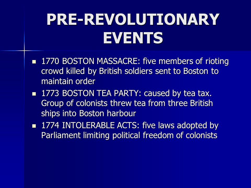 PRE-REVOLUTIONARY EVENTS