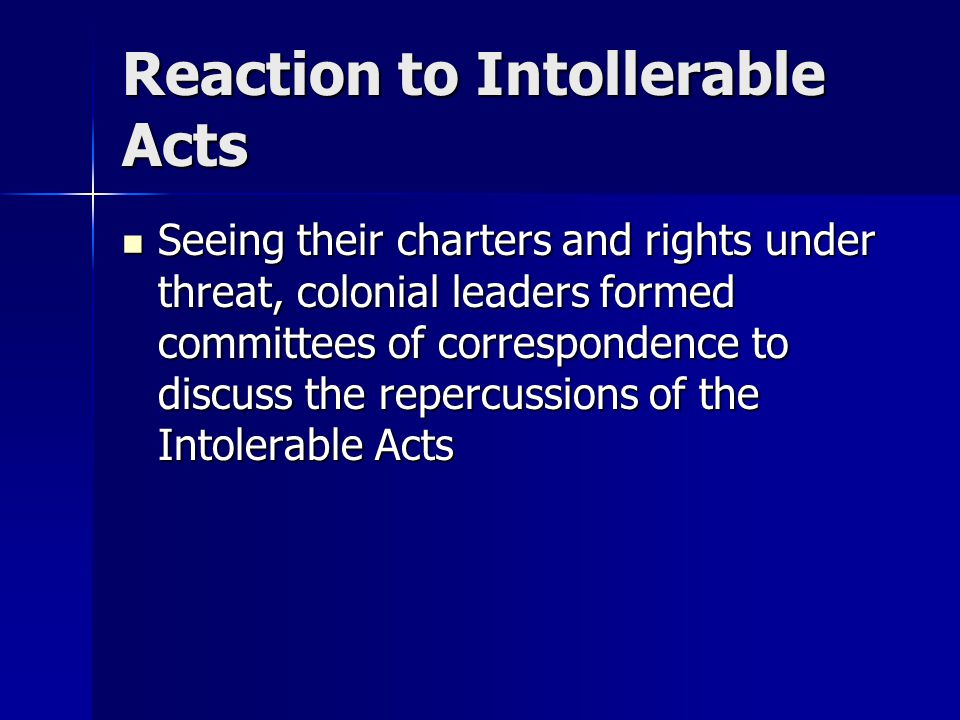 Reaction to Intollerable Acts