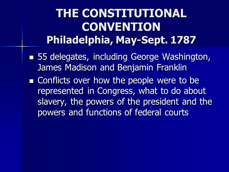THE CONSTITUTIONAL CONVENTION Philadelphia, May-Sept. 1787