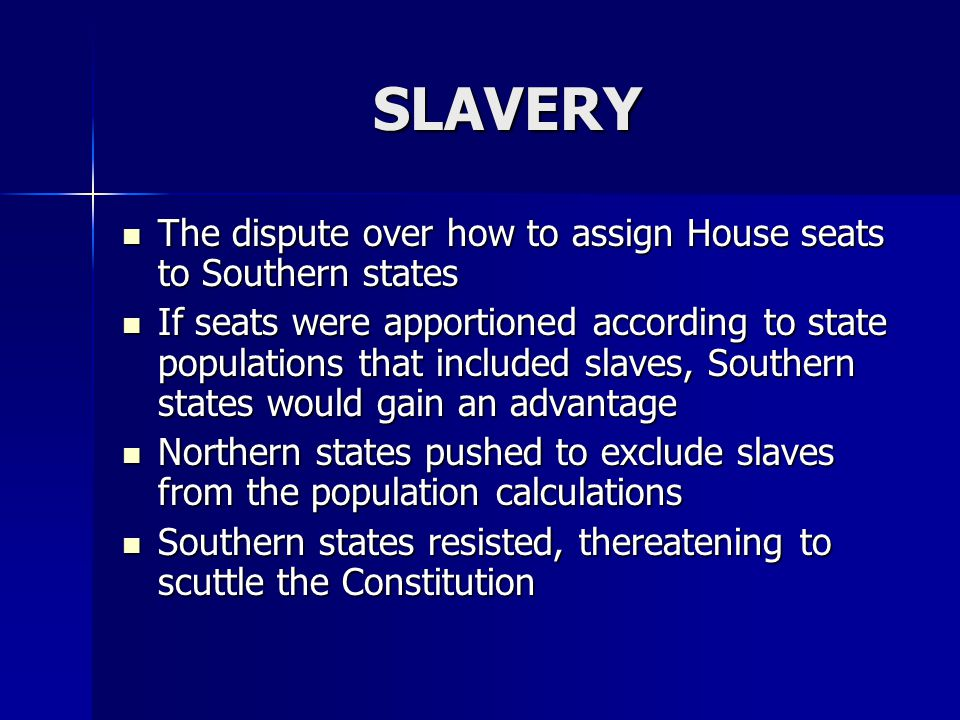 SLAVERY The dispute over how to assign House seats to Southern states