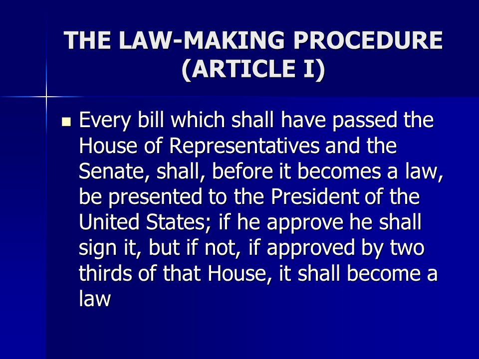 THE LAW-MAKING PROCEDURE (ARTICLE I)