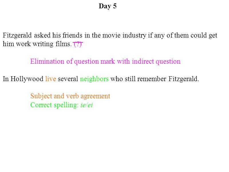 Elimination of question mark with indirect question