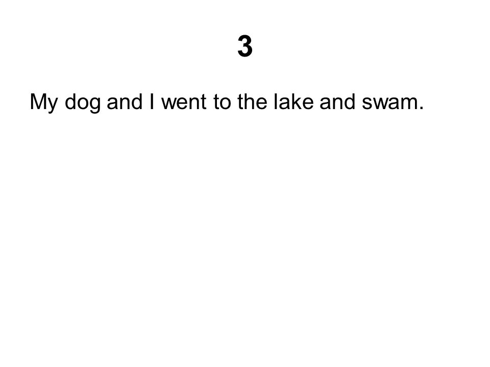 3 My dog and I went to the lake and swam.