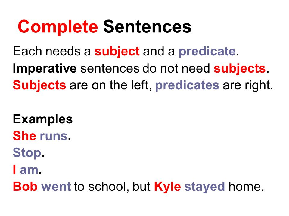 Complete Sentences Each needs a subject and a predicate.