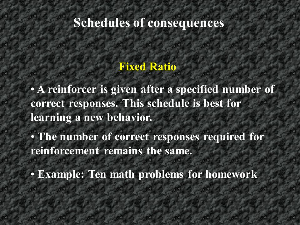 Schedules of consequences