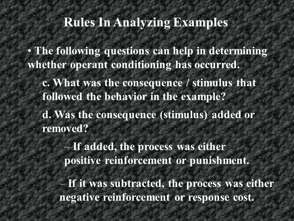 Rules In Analyzing Examples