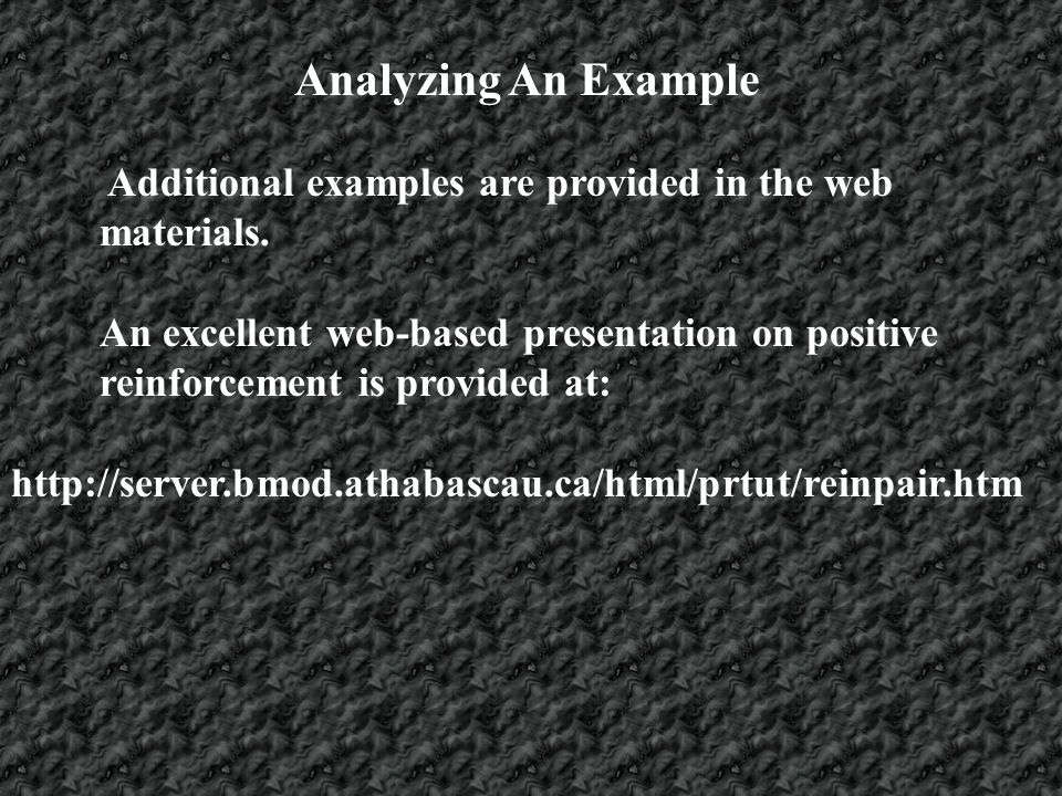 Analyzing An Example Additional examples are provided in the web materials.