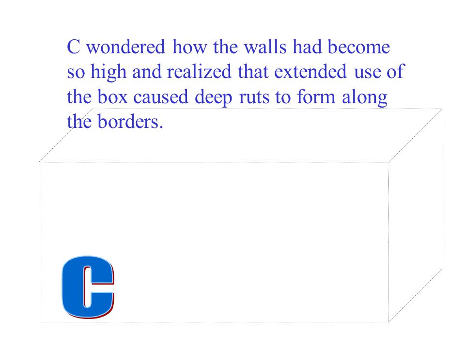 C wondered how the walls had become so high and realized that extended use of the box caused deep ruts to form along the borders.