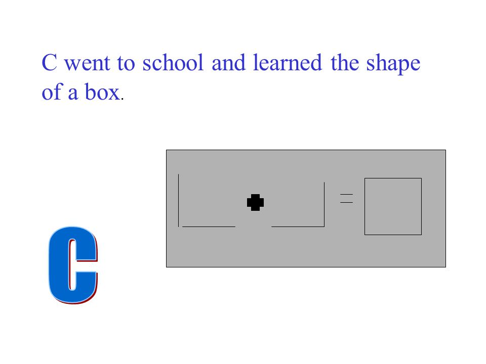 C went to school and learned the shape of a box.