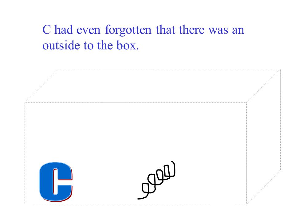 C had even forgotten that there was an outside to the box.