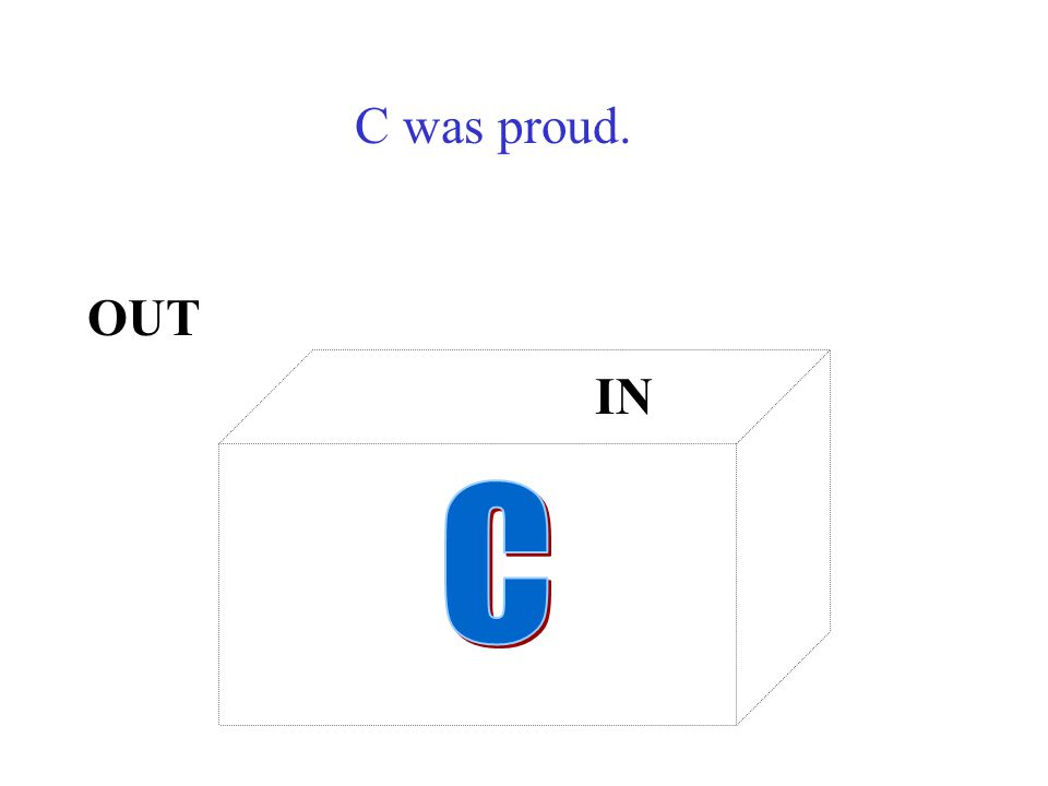 C was proud. OUT IN C