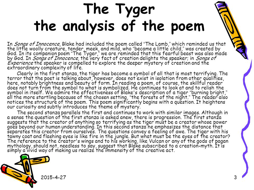 The Tyger the analysis of the poem