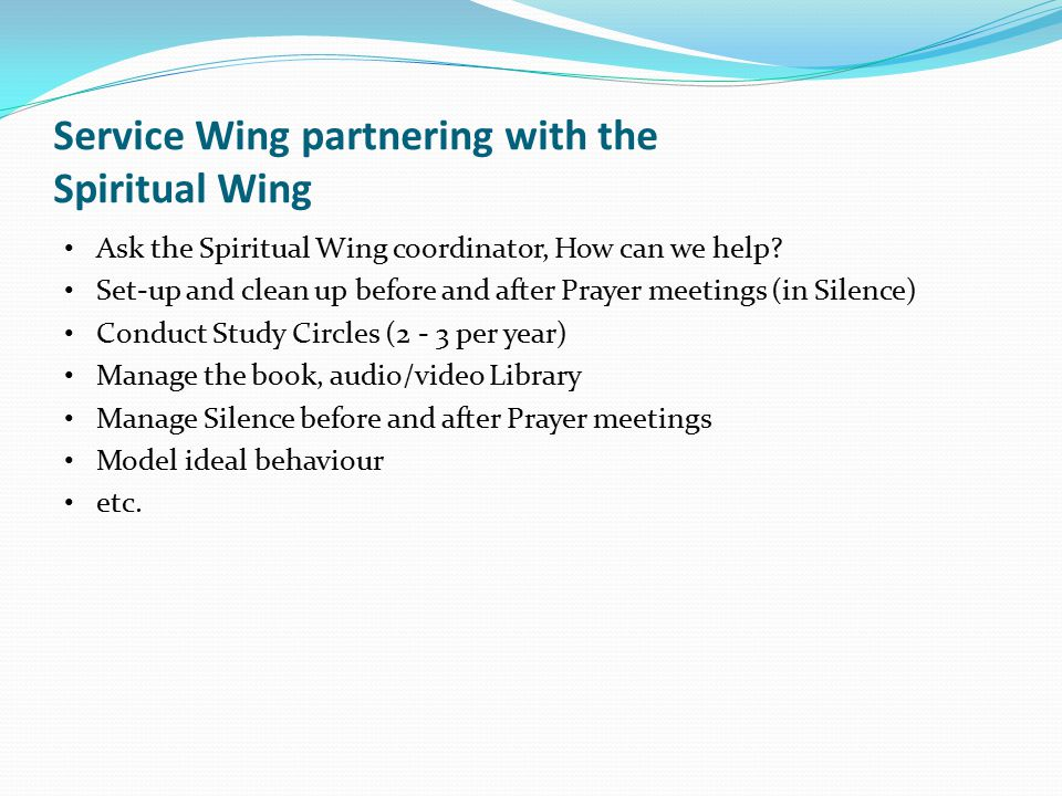 Service Wing partnering with the Spiritual Wing
