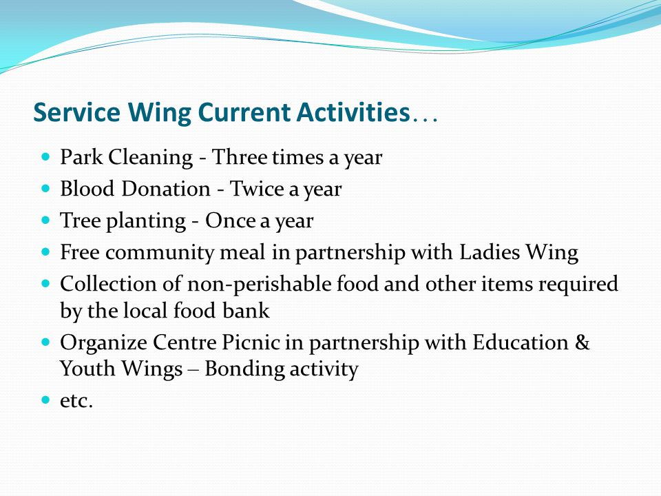 Service Wing Current Activities…