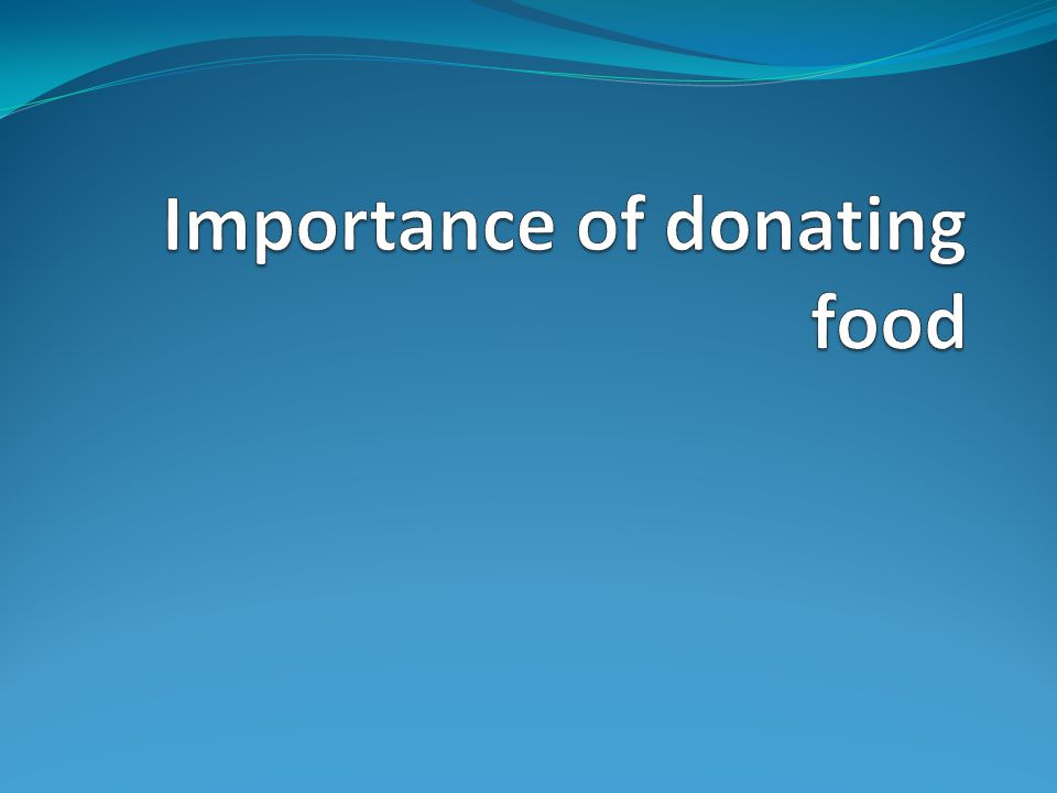 Importance of donating food