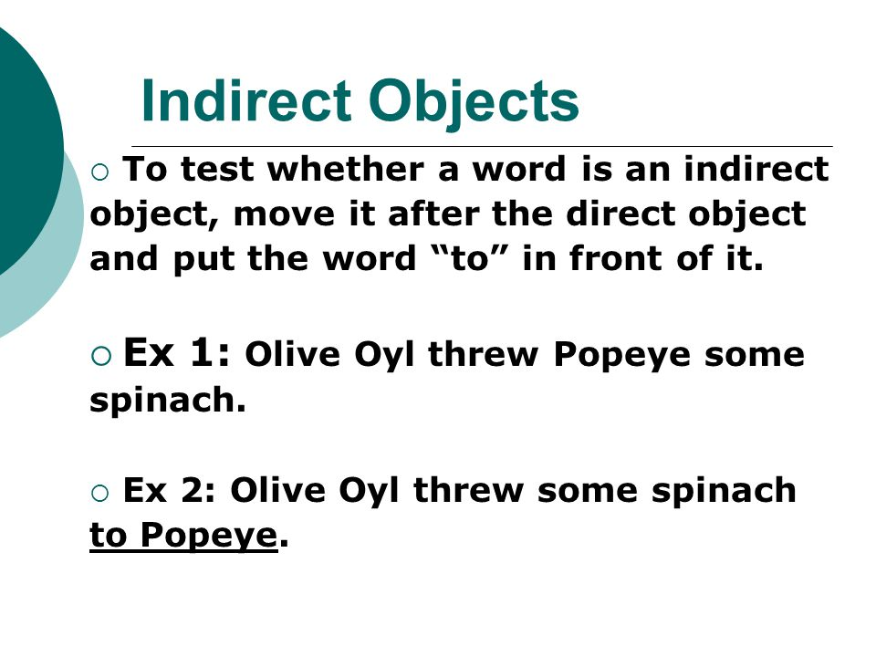 Indirect Objects Ex 1: Olive Oyl threw Popeye some