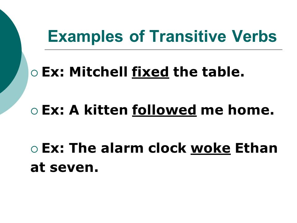 Examples of Transitive Verbs