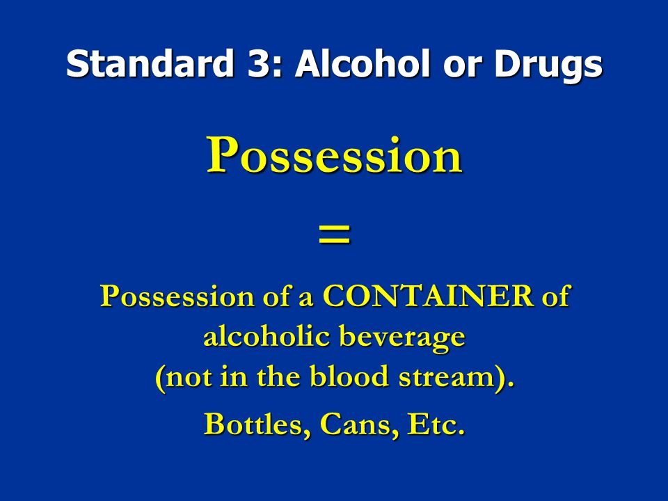 Standard 3: Alcohol or Drugs