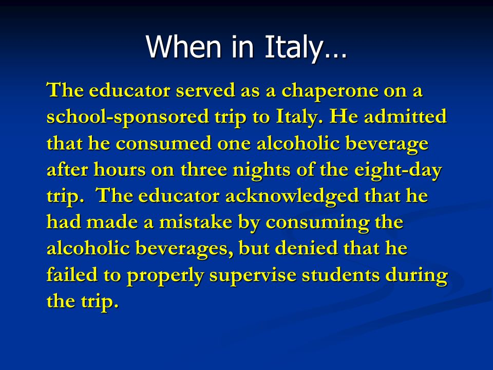 When in Italy…