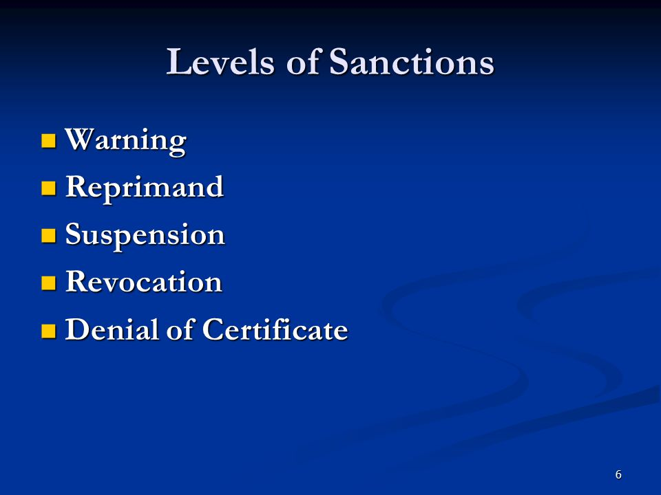 Levels of Sanctions Warning Reprimand Suspension Revocation