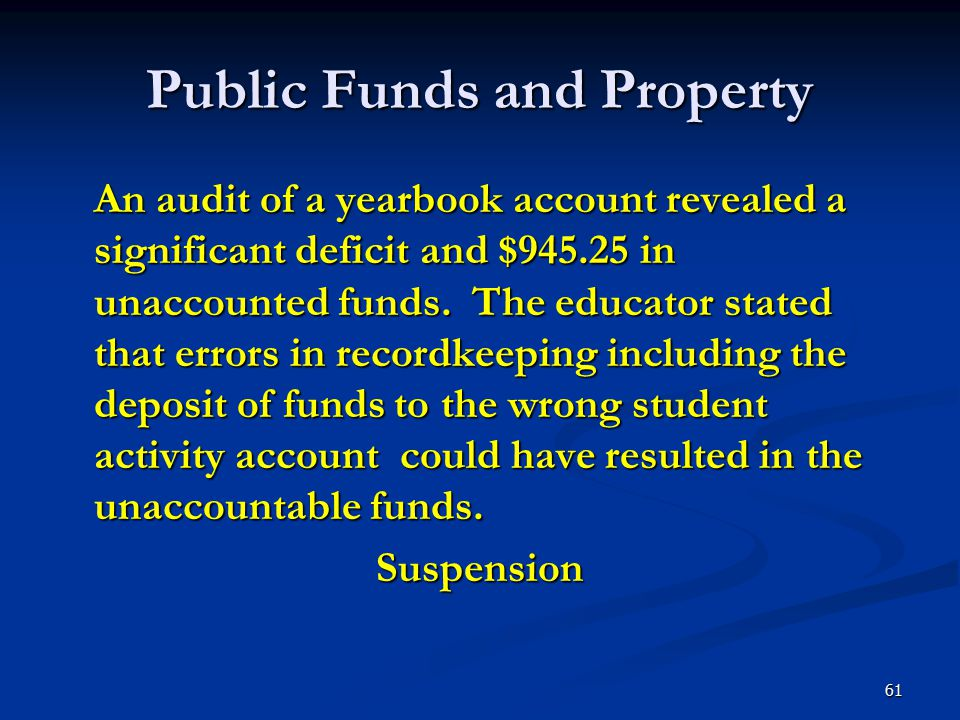 Public Funds and Property