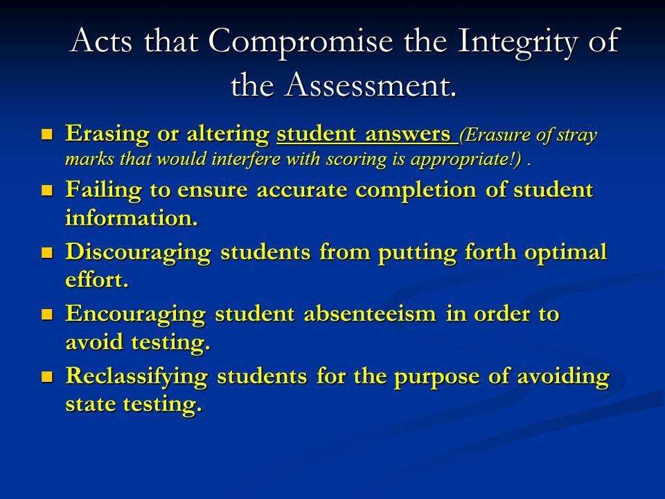 Acts that Compromise the Integrity of the Assessment.