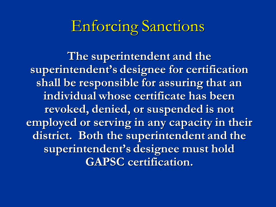 Enforcing Sanctions