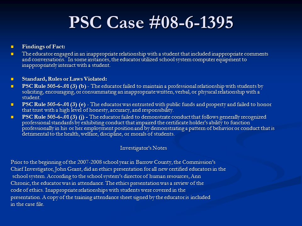 PSC Case #08-6-1395 Findings of Fact: